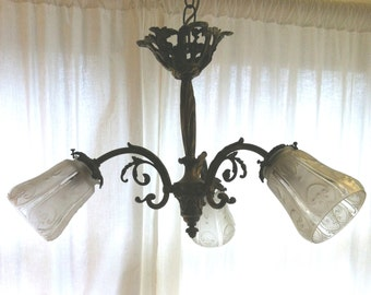 Elegant Antique Metal  and Glass  Hanging Light Fixture from Barneche/Stephanie Barnes