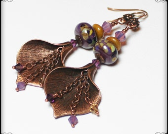 Calla Lily... Handmade Jewelry Earrings Beaded Lampwork Glass Crystal Flower Purple Lavender Plum Amber Caramel Antique Copper Long Boho