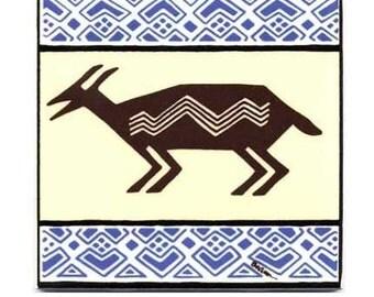 African Antelope for Wall Plaque, or Kitchen Backsplash Tile by Besheer Art Tile (AF-6)