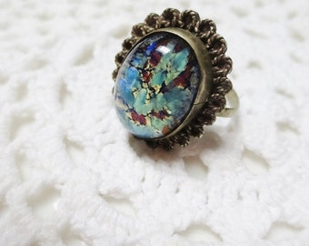 Vintage Ring Fire Opal Foil Mexico Silver Eagle Hallmark size 6.5