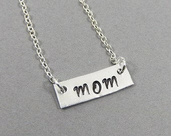 Handstamped MOM Metal Bar Necklace - Personalized mother, mama, mom necklace