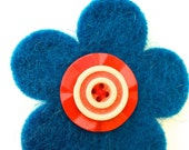 Handmade Wool Felt 'MOD FLOWER' Brooch with Vintage Buttons - Teal with Red and Cream