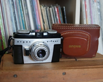Mid Century Argus A-Four 35mm Film Camera with Field Case