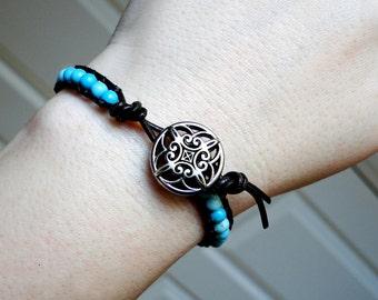 Turquoise Bracelet, Leather Wrap Bracelet with Turquoise - House of Blues by CircesHouse on Etsy