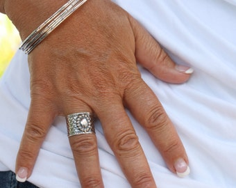 Sterling Silver Wide Band Ring - Handmade - Wide Ring - Made to Order