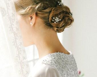 Bridal pearl bobby pins, silver wedding hairpins, bridal bobby pins, updo hair pins, set of 3 - style 140