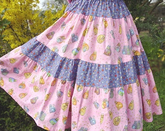 Pink Girl Skirt Mid calf length Girls Long Skirt Pastel Rainbow Cat Girl Twirl Skirt size 2T 3T 4 5 6 7 8 10 12 14 Kid Spring Tween Clothes