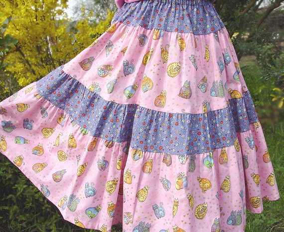 Super Twirly, Girls Long Skirt Pink Girl Skirt Mid calf length Pastel Rainbow Cat Girls Twirl Skirt size 2T 3T 4T 5 6 7 8 Spring Kids Outfit