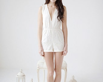 Lace Romper, bridal romper, ivory romper, honeymoon, bride, bridal - Delia
