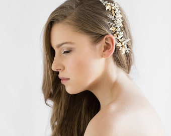 ZINNIA | floral bridal hair comb, gold bridal headpiece, gold wedding hair comb