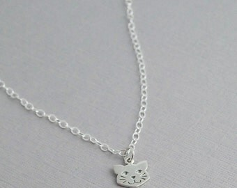 Kitty cat necklace / Sterling cat necklace