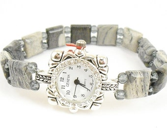 Beaded Watch - Petite Silver Leaf Jasper Stretchy Watch with Rhinestone Studded Watch Face