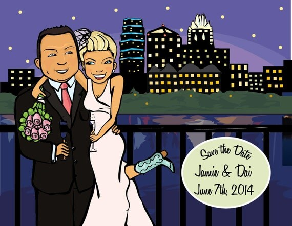 Custom Illustrated Save the Dates and Invitations.