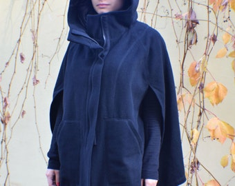 Wool Poncho, Hooded Poncho, Winter Poncho, Black Cape Coat, Hooded Cape, Womens Cape, Womens Cloak, Winter Cape, Wool Cape, Black Cloak
