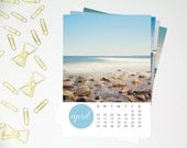 Beach Photography 2016 Calendar, New England Ocean, Seaside Decor, 5x7 Loose Sheet Calendar, North Shore Massachusetts, Minimal Modern Beach