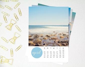 Beach Photography 2016 Calendar, New England Ocean, Seaside Decor, 5x7 Loose Sheet Calendar, North Shore Massachusetts, Minimal Modern Beach