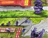 New Orleans Streetcar Gremlins original watercolor New Streetcar *blech*