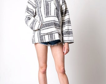 The Vintage Surfer Mexican Ethnic Boho Black and White Poncho