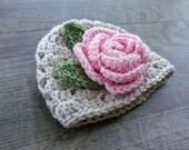 Baby Flower Hat, Baby Girl Hat, Linen Rose Baby Hat, Crochet Baby Hat, Crochet Baby Girl Beanie, Baby Girl Photo Prop, Rose Baby Shower Gift