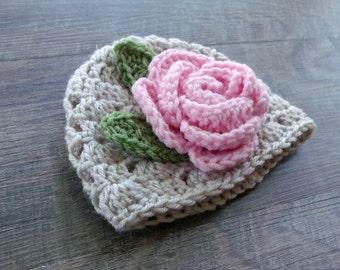 Baby Flower Hat, Baby Girl Hat, Crochet Baby Girl Beanie, Linen Rose Crochet Baby Hat, Baby Girl Photo Prop, Rose Baby Shower Gift