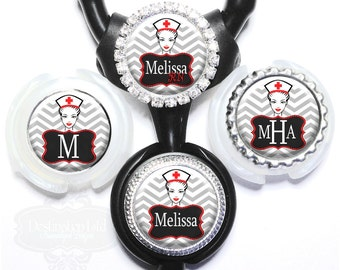 Littmann Stethoscope ID Tag - Personalized Gray Chevron Nurse Bling Identification with Name, Monogram, Occupation Title (A272)