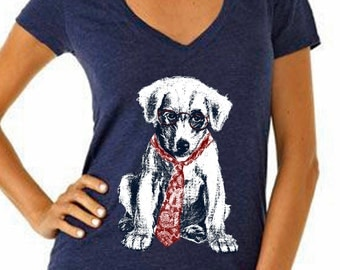 dog - dog shirt - dog tshirt - womens shirts - dog lover tshirt - dog lover gift - hipster shirt - funny tshirts -SPECTACLE PUP - deep vneck