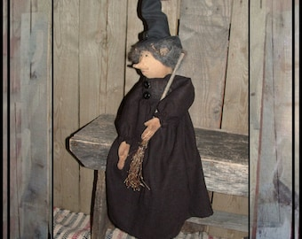 Primitive folk art witch doll witch broom softed sculpted rag doll witch HAFAIR haguild ofg faap Lucys Lazy Dayz