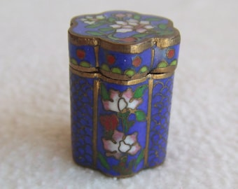 Antique Chinese Asian Miniature Cloisonee Brass Enamel Lidded Snuff Box