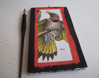 Flicker Watercolor Notebook, softcover pamphlet book with watercolor paper, blank art journal, bird journal, small plein air sketchbook