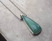 Ancient, no. 3…aventurine in sterling silver with 14k gold accent necklace