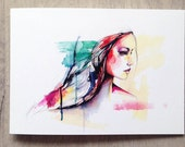 Sky - 5X7 greeting card - new watercolour illustrations by Holly Sharpe