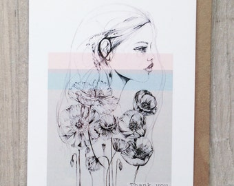 Set of 8 x A6 THANK YOU cards - with 'Poppy' illustration - by Holly Sharpe