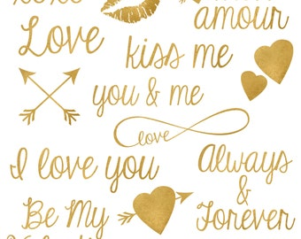Golden Words of Love Digital Clipart - Set of 14 - Gold Foil Love and Valentine Words - Instant Download - Item#9067