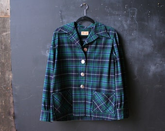 Womens Wool Jacket Pendleton Plaid 50s to 60s Jacket Bohemian Artisan Smock With Green and Blue Plaid and Abalone Buttons