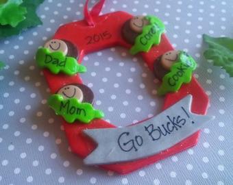"Ohio State Personalized ""Block O"" ornament - 4 Family"