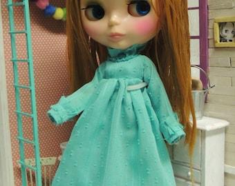 turquoise ruffle dress, mori style, boho style, long gown