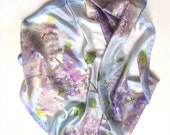 Lilacs silk scarf/ Hand painted silk scarf, square scarf, floral scarves/ Pastel lilac blue scarf/ Lightweight scarf/ Bandana scarf