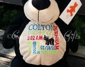 Personalized baby gift, birth announcement, best baby gift, plush, Black Bear,subway art, stuffed animal with name,Original Embroider buddy