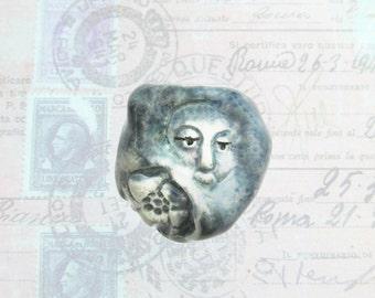 one of kind bead - Focal Bead,  Face Bead,  Handmade bead,  Ceramic bead,  pottery bead                            # 176