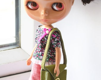 Fantastic mid green real leather hanbag/bag/purse for Blythe doll