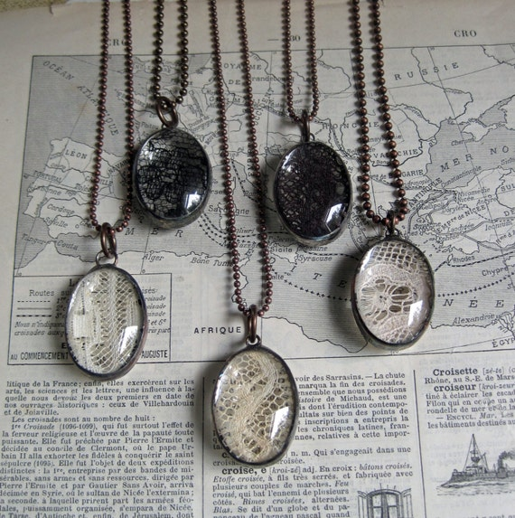 Stained Glass Lace Pendant Long Necklace Jewelry