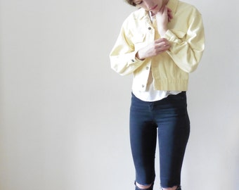 Yellow Denim Cropped Jacket As is