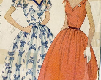 Vintage 50s Simplicity 3890 Misses Lovely Rockabilly Dress with Puff Sleeves or Sleeveless and V Neckline Sewing Pattern Size 14 Bust 32