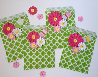 Treat Bags Favor Bags Green Embellished with Flowers