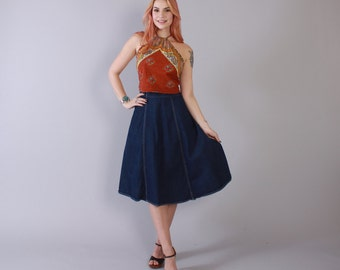 Vintage 70s JEAN SKIRT / 1970s High Waisted Dark Blue Denim Hippie Wrap Skirt XS