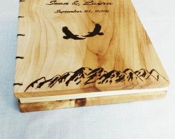 Custom Wood Burned Guest Book, Flying Eagles Wedding Guest Book, Rustic Wedding Guest Book