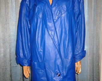 Vintage 80's - G-III - made in the USA - Cobalt or Royal Blue - Stitched Patchwork Leather - Hip Hop -Mod - Punk - Jacket - Coat - bust 48""