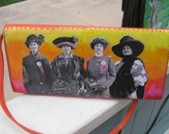 Upcycled Purse, Votes for Women, Summer Sunset Colors