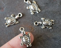 15 Turtle, Tortise, silver Color Charms, Metal Alloy, silver turtle charms, silver tortoise pendants, 22x12x3.5 mm, silver turtles, summer