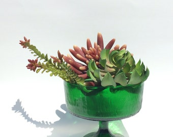 Vintage Green Glass Pedastal Bowl Pressed Hoosier Glass
